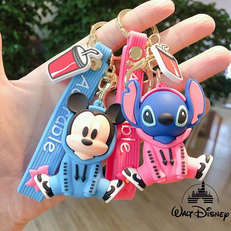 Disney Cartoon Stitch Mickey Minnie Keychains Mouse Piakchu Figure Doll Key Chain For Girls Bag Charms Car Pendant Keyrings