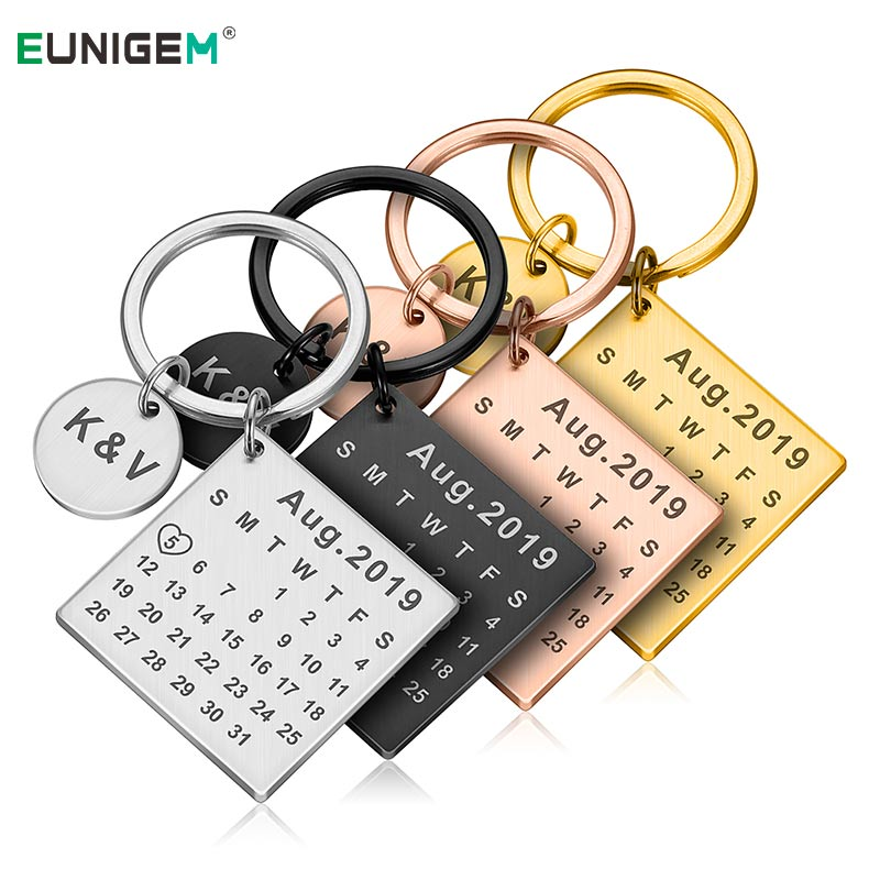DIY Personalized Calendar Keychain Hand Carved Calendar Keyring Gift For Boyfriend Girlfriend Stainless Steel Private Custom