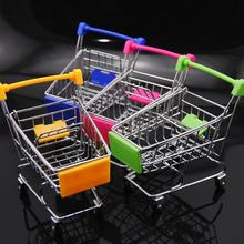 Creative mini stainless steel trolley supermarket shopping cart pattern storage toy mobile phone food shelf play house toy cart cheap Mini shopping cart 2-4 Years 5-7 Years 14 Years up 8~13 Years Transportation Occupations Cute storage cart