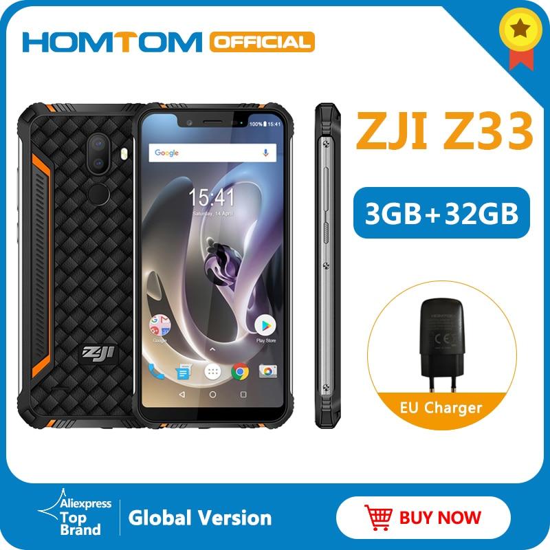 Оригинальный HOMTOM ZJI Z33 IP68 водонепроницаемый телефон Android 8.1MTK6739 3 + 32 ГБ 4600 мАч 5,85 смартфон для распознавания лица 4G мобильный телефон