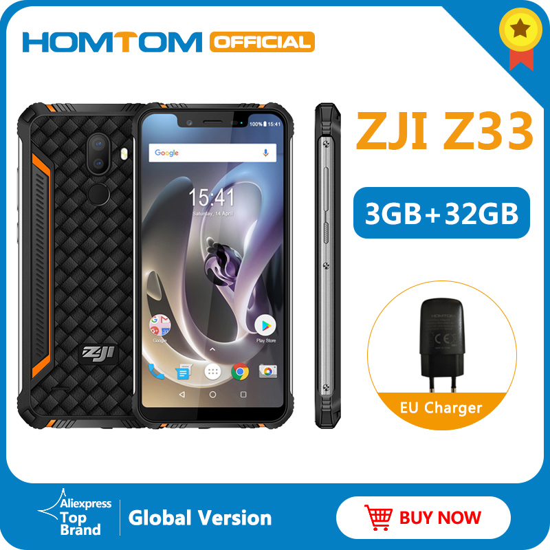 "Original HOMTOM ZJI Z33 IP68 Waterproof Phone Android 8.1MTK6739 3+32GB 4600mAh 5.85"" Smartphone Face ID Unlock 4G Mobile Phone"