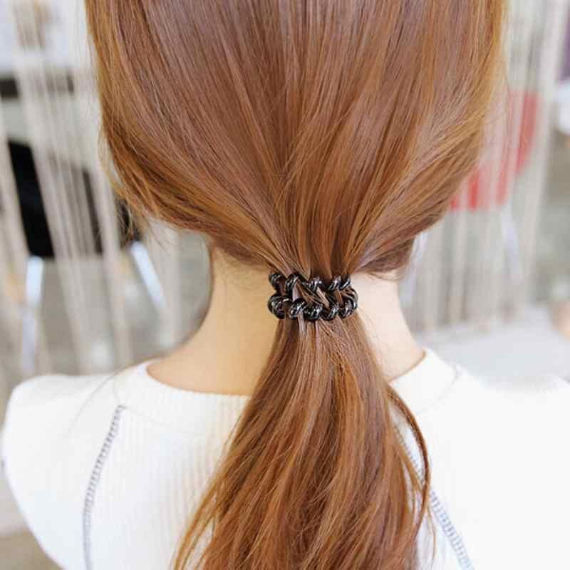 1 adet Lady kızlar siyah kauçuk telefon teli tarzı Hairband saç bağları ve plastik halat HairBand elastik Salon saç bantları saç bantları