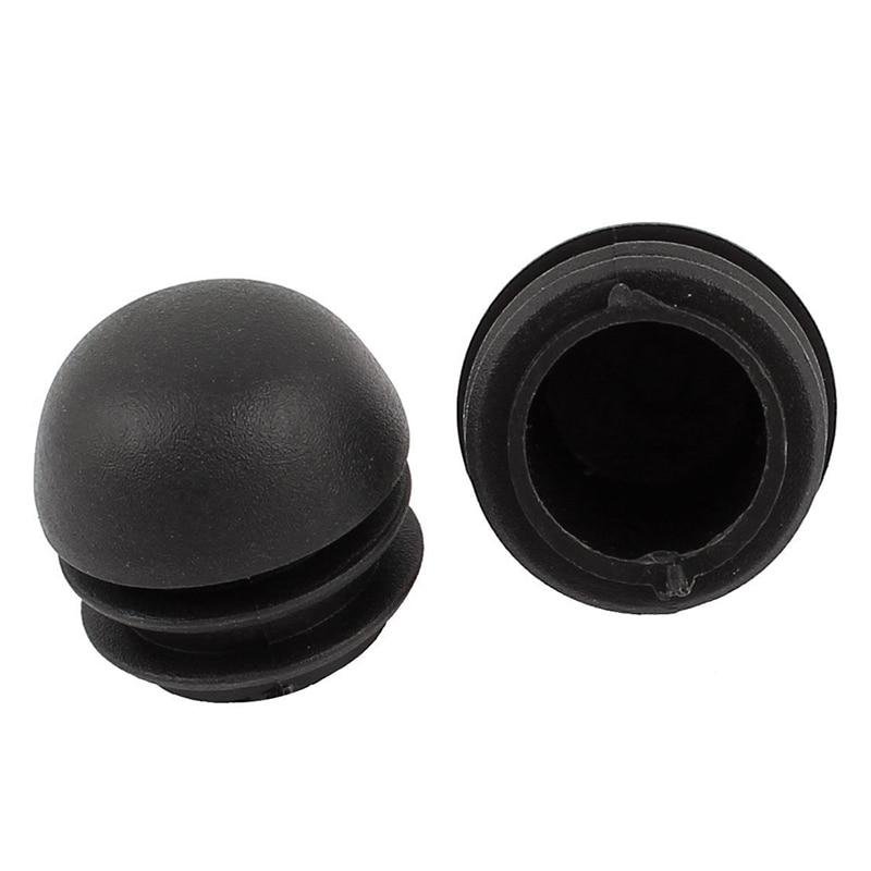 2 Pcs 25mm Dia Plastic Round Tube Inserts End Blanking Caps Black