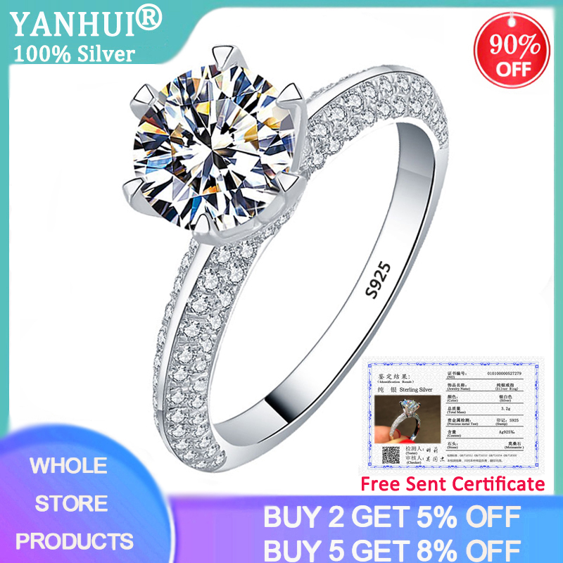 YANHUI With Certificate Silver 925 Jewelry Moissanite Ring Luxury Brand 2.0ct 925 Sterling Silver Wedding Rings for Women DZR279