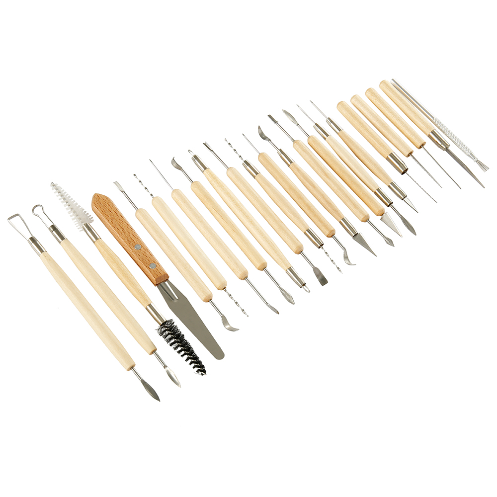 27Pcs Arts Crafts Clay Sculpting Tools Set Fimo Modeling Carving Tool Kit Pottery Ceramics Wooden Handle Modeling Clay Tools in Pottery Ceramics Tools from Home Garden