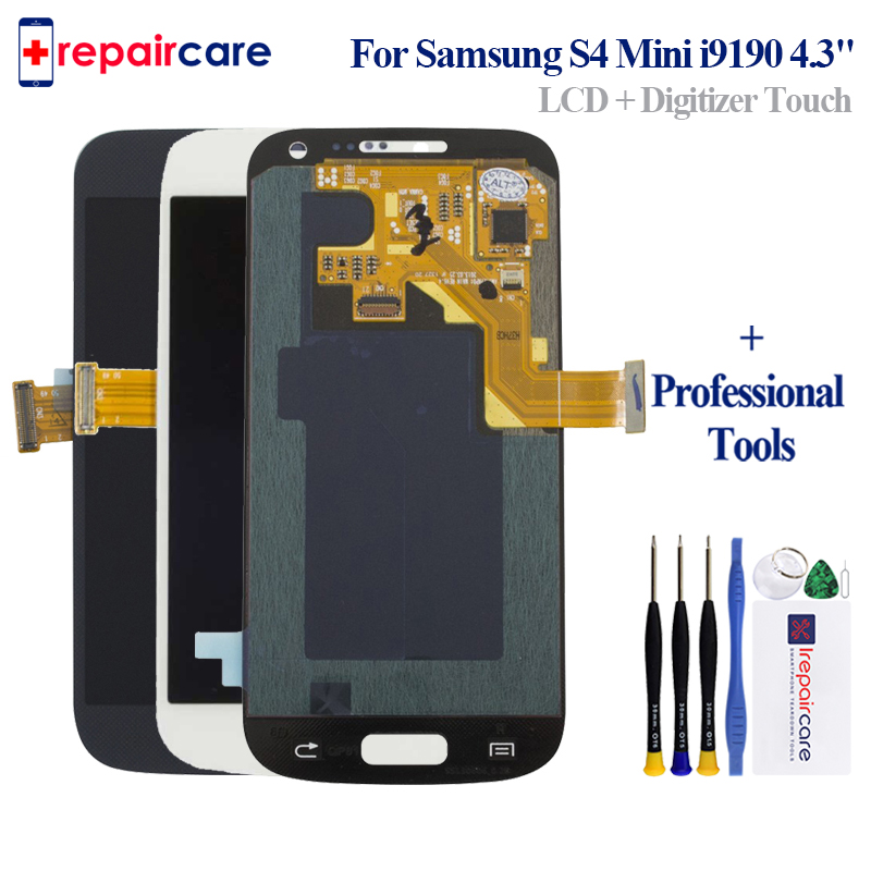 For <font><b>Samsung</b></font> <font><b>Galaxy</b></font> <font><b>S4</b></font> <font><b>Mini</b></font> <font><b>I9190</b></font> i9192 i9195 Phones <font><b>LCD</b></font> Display Touch <font><b>Screen</b></font> Digitizer Replacement with Frame AMOLED HD LCDS image