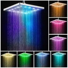 Светодиодная насадка для душа квадратная ванна кран из нержавеющей стали душ дождевая насадка для душа высокого давления дождевой Душ самообесцвечивающийся
