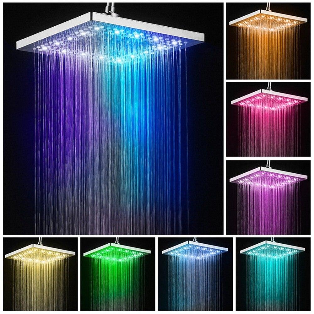 Led מקלחת ראש כיכר אמבטיה ברז נירוסטה מקלחת גשם גשם מקלחת ראש גבוהה לחץ מקלחת גשם עצמי הצללה