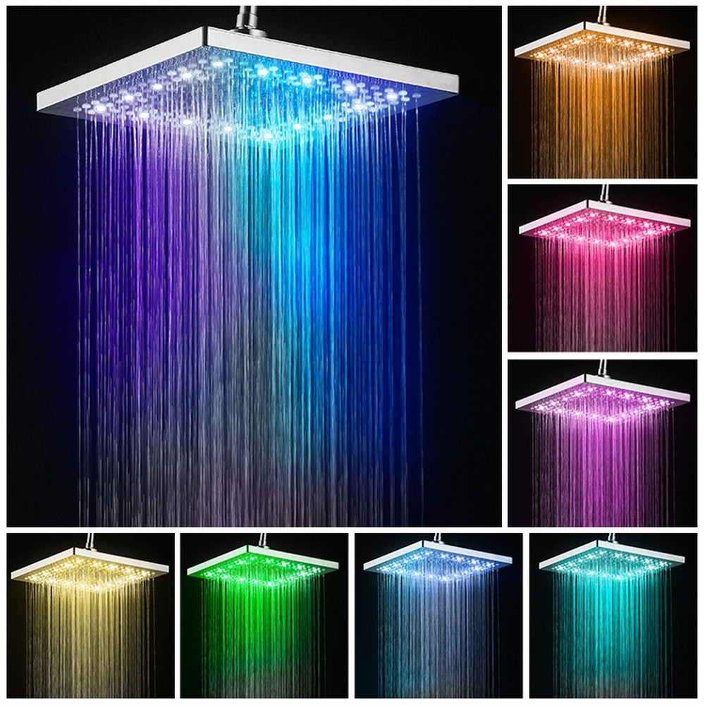 Led Shower Head Square Bath Faucet Stainless Steel Shower Rainfall Rain Shower Head High Pressure  Rainshower Self-Discoloring