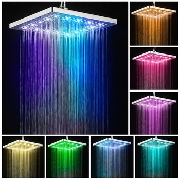 цена на Led Shower Head Square Bath Faucet Stainless Steel Shower Rainfall Rain Shower Head High Pressure  Rainshower Self-Discoloring