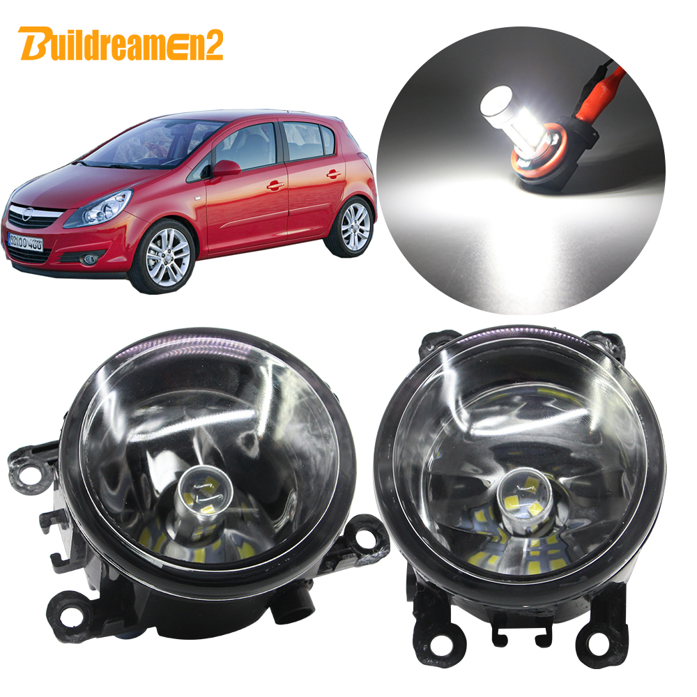 Buildreamen2 For <font><b>Opel</b></font> <font><b>Corsa</b></font> <font><b>D</b></font> Hatchback Car H11 Fog Light Lampshade + Bulb DRL 12V 2007 <font><b>2008</b></font> 2009 2010 2011 2012 2013 2014 2015 image