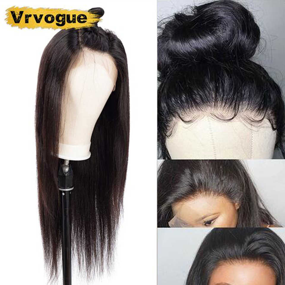 Vrvogue 360 Lace Frontal Wig Remy Bralian Straight Lace Frontal Human Hair Wigs Pre Plucked With Baby Hair For Black Women