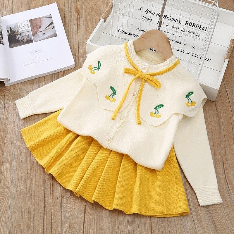 Enfants vêtements automne vêtement tricoté d'hiver bébé filles vêtements ensemble hauts + jupe survêtement costume enfants vêtements pour enfant en bas âge filles 2 8 ans