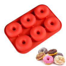 Silicone Cake Mould Environmental 6-line Donut Mould Donut Cake Mould Chocolate Mould  silicone mold premier housewares 6 starfish cake pop silicone mould red