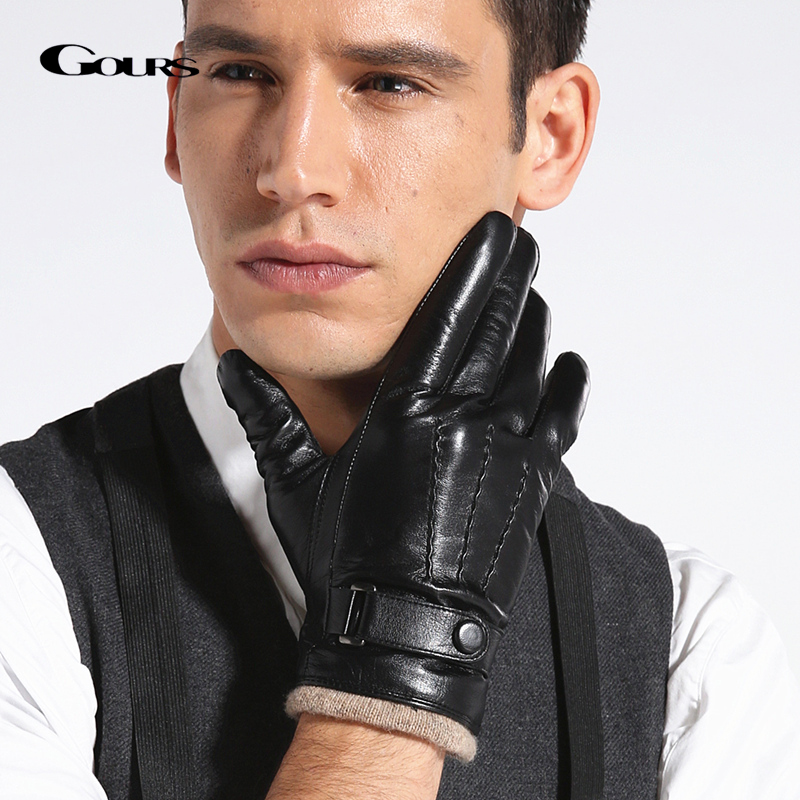 GOURS Genuine Leather Winter Gloves For Men Fashion Black Real Goatskin Wool Lining Warm Hand Driving Glove 2019 New Mittens 005