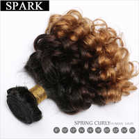 Extensión de cabello humano Spark, mechones de pelo rizado suelto ombré brasileño, 3 tonos, extensiones de pelo ondulado mechones negro Mujer L