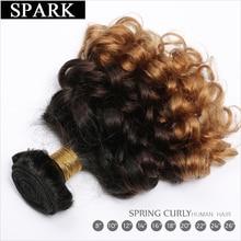 Spark Human Hair Extension Ombre Brazilian Loose Bouncy Curly Hair Bundles 3 Tone Ombre Remy Hair Weave Bundles Black Women L