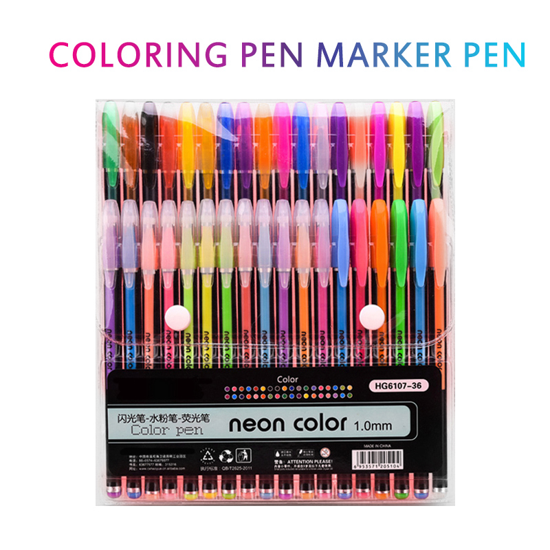 36 Colors Gel Pens Set Glitter Gel Pen For Adult Coloring Books Journals Drawing Doodling Art Markers Student Office Stationery
