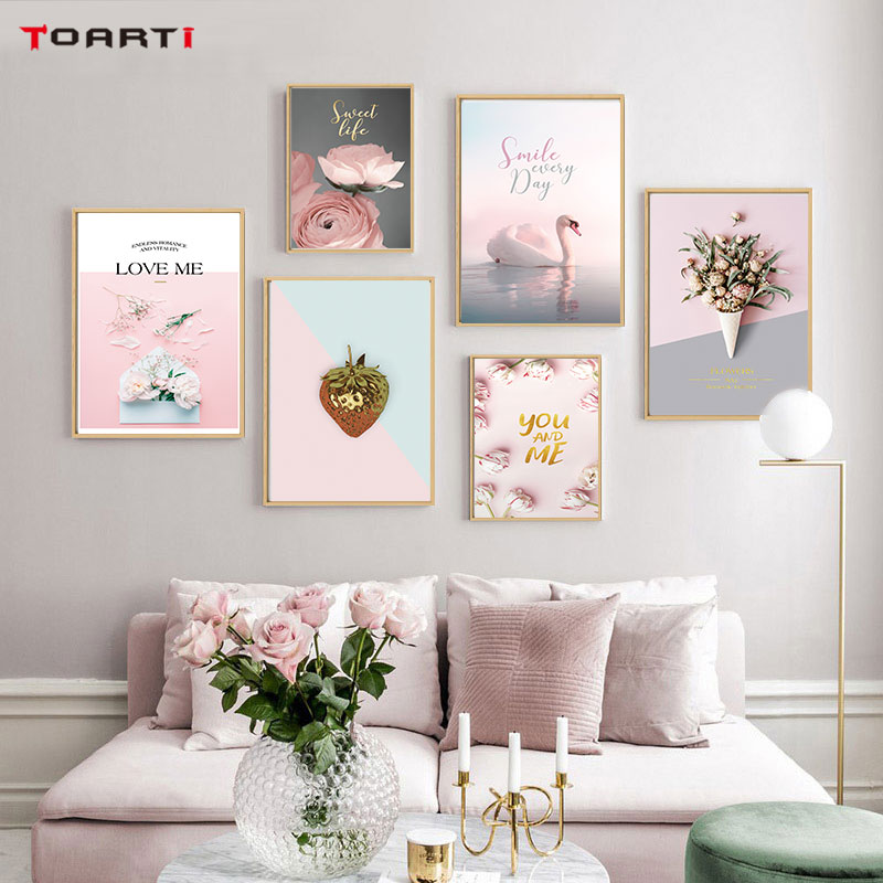 Modern Flowers Rose Posters Prints Animal Flamingo Canvas Painting On The Wall For Living Room Bedroom Home Decor Pink Pictures