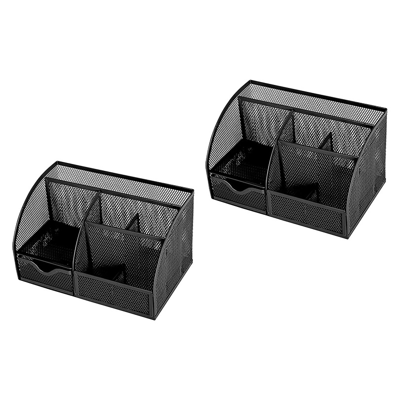 Mesh Desk Organizer Office with 6 Compartments + Drawer/Desk Tidy Candy/Pen Holder/Multifunctional Organizer (Black 2 Pack)