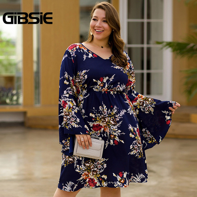 GIBSIE Flare Long Sleeve V-neck Tunic Women Dress Autumn Floral Print High Waist Casual Plus Size Knee Length Mid A-line Dress 5
