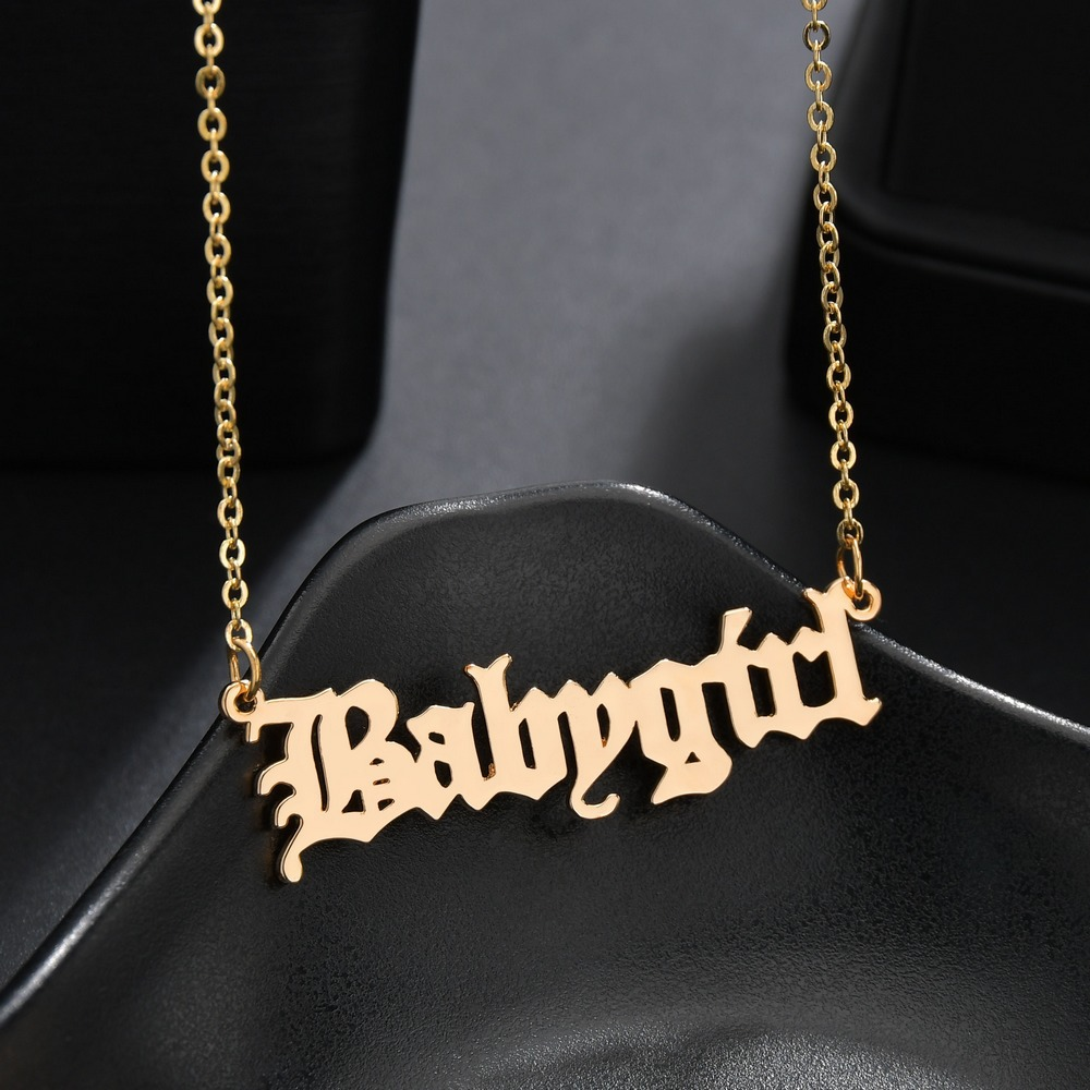 New Baby Girls Necklace Baby Girl English Necklace Letter Pendants Stainless Steel Mom Girlfriend Jewelry Gift
