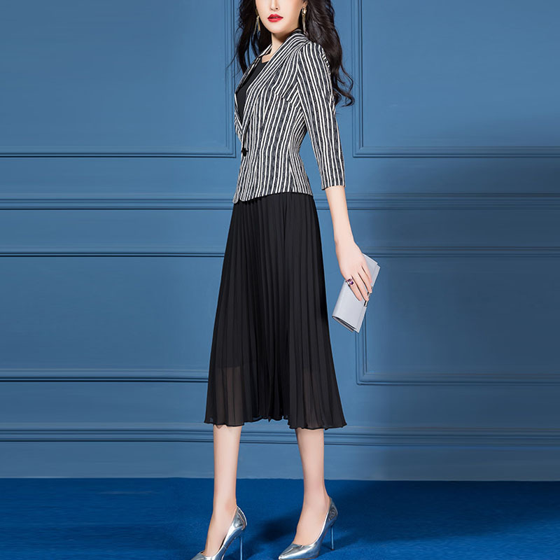 Elegant Formal Dress Suits Women 2 Piece Set Slim Fit Stripe Blazer Black Chiffon Pleated Long Dress Office Lady Work Clothes