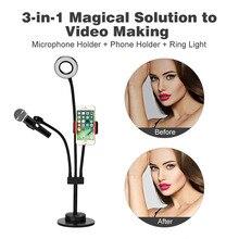 3 в 1 ленивый кронштейн для телефона и держатель для микрофона гибкий зажим для мобильного телефона с Светодиодная лампа и регулируемой яркостью и датчиком касания Lightbeads Selfie Ring Light