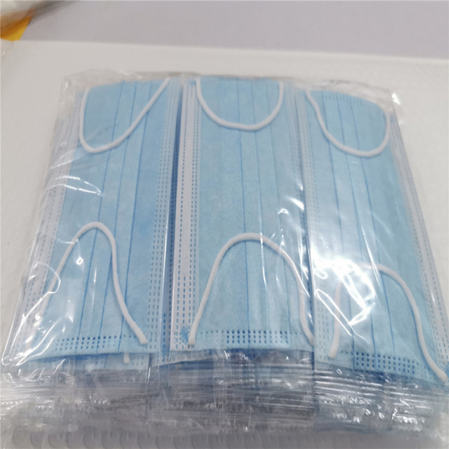50pcs/set, Disposable Face Mouth Cover Masks Blue 3 Ply Masks Earloop Non-Woven Fabric Prevent Flu