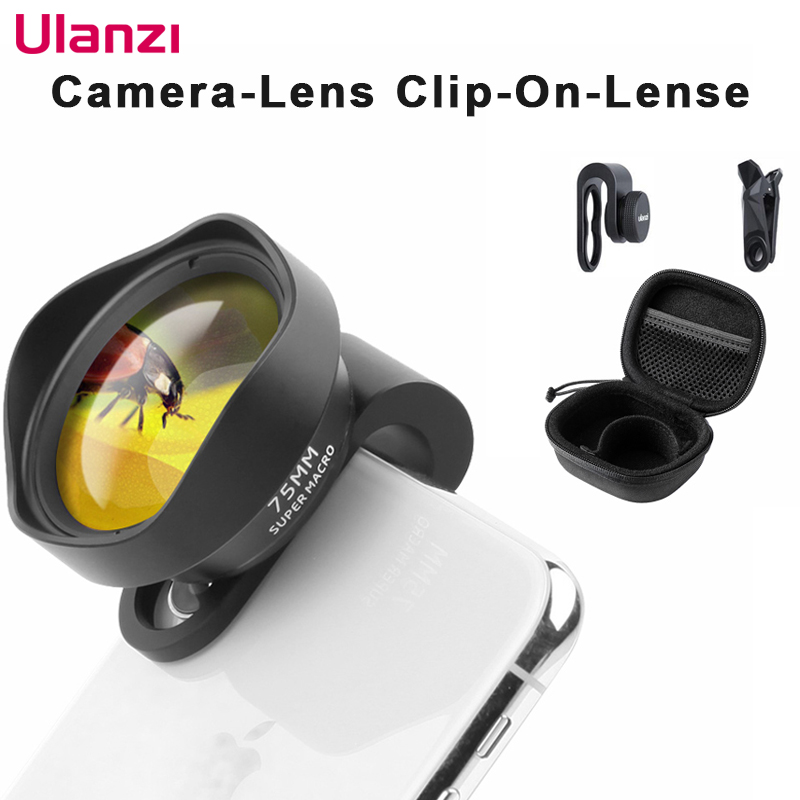 Ulanzi 10X 75MM Macro Phone Camera Lens 17MM Thread Mobile Lens Clip On Lenses for iPhone 11 Pro Max Android 1.33X Anamorphic