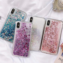 JASTER Love Heart Glitter Phone Case For iphone X XR XS MAX Liquid Quicksand Cover For iphone5 5S SE 6S 6 7 8 Plus Bling Sequins(China)