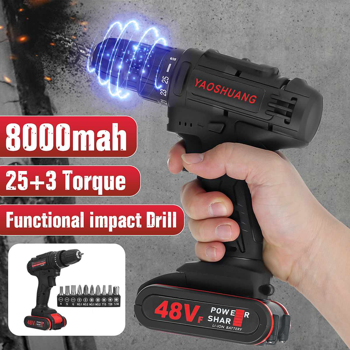 Electric Drill /Impact Drill 48V Cordless Combi Drill 2 Speed Rechargeable Functional Driver Battery Drill With 10Pcs Drill Bits