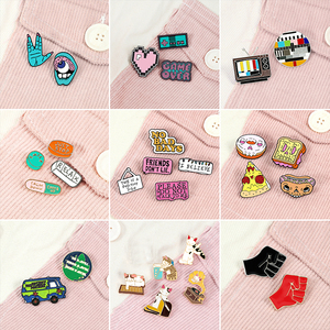 2-7pcs/set Funny Enamel Brooch Cartoon Cat Pink Game Console Car Earth Pins Cute Pills Band-Aid Letter Sign Lapel Badges Jewelry