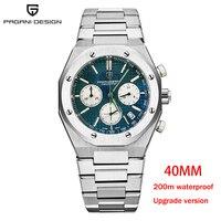 Pagani Design-reloj de cuarzo para hombre, de lujo, de acero inoxidable, zafiro, 2021 m, resistente al agua, automático, Masculino, 40mm, nuevo, 200