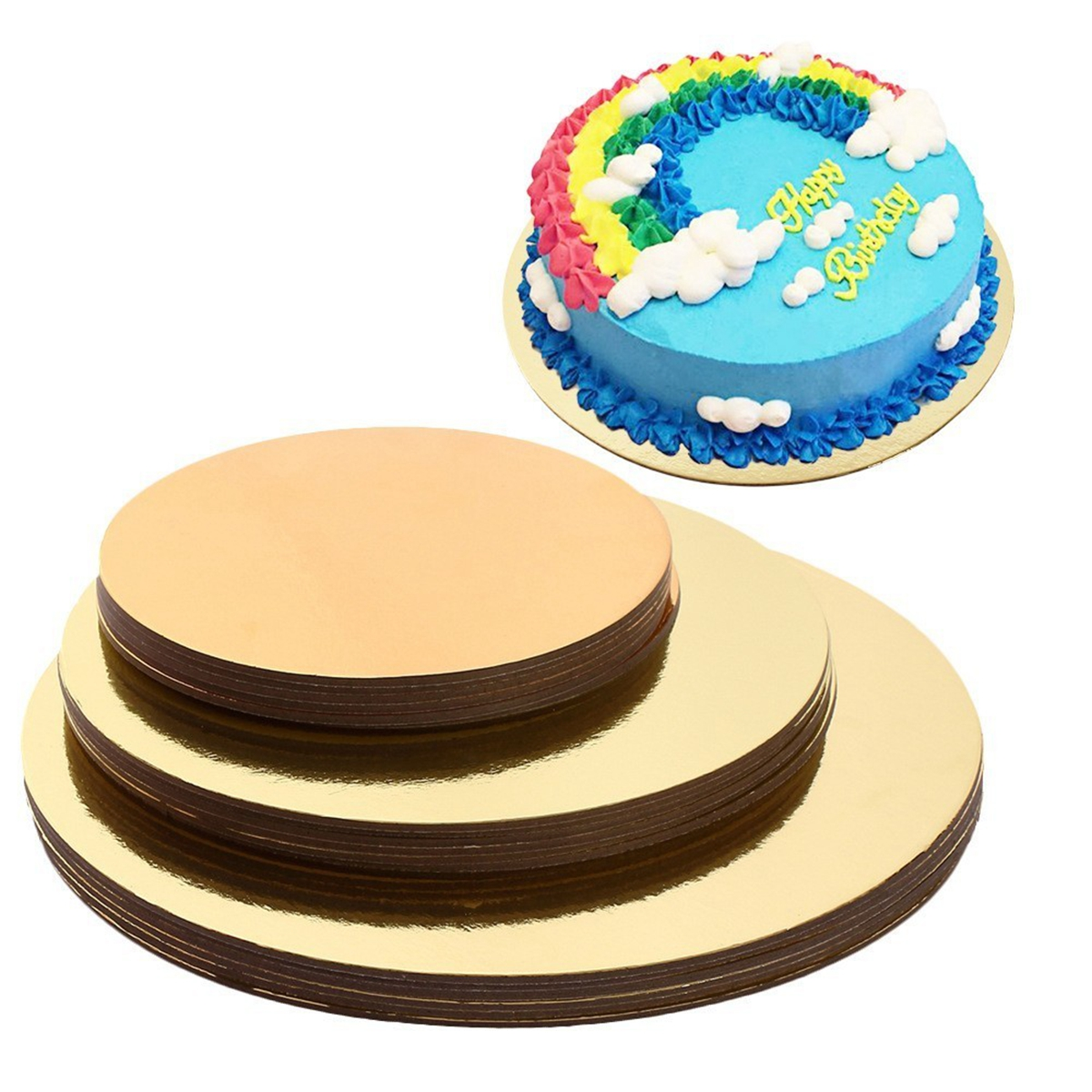8/10/12 Inch Round Wedding Birthday Cake Boards Food Grade Gold Card Board Baking Cake Hard Paper Pad Baking Making Tool Dessert