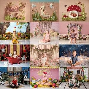 Image 1 - Mehofond noworodka tło różowy kwiat noworodka prysznic urodziny fotografia portretowa tło Photo Studio dekoracji