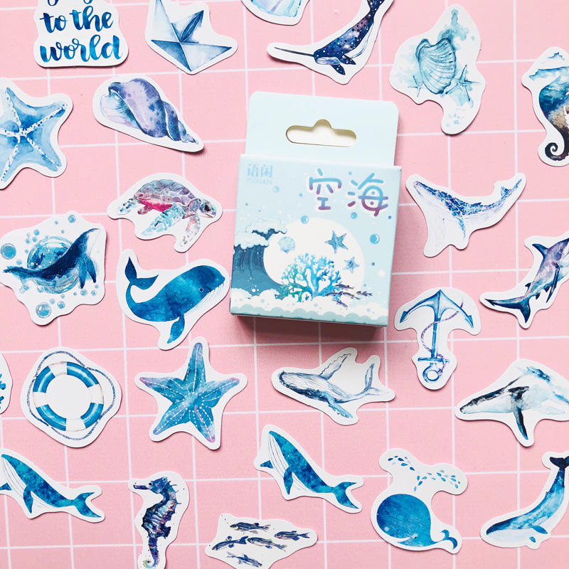 50 Pcs /Box Blue Style Ocean Whale Shell Decorative Paper Stickers Decoration