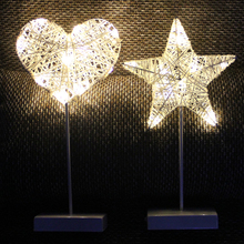 LEADLY LED Woven Star Love Decoration Lamp Weave 3D LED Lamp Night Lights Table Lamp For Home Party Bedroom Decorative Light 1pc rechargeable led light under table base led light lamp for furniture wedding table lighting home party decoration lights