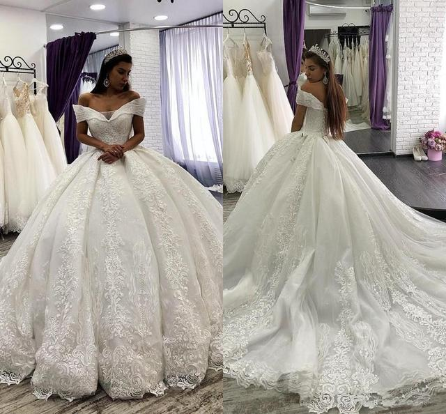 Arabic Lace Ball Gown Weddings Dresses lace Off The Shoulder Chapel Wedding gown Sequins Beaded Plus Size Bridal Gown