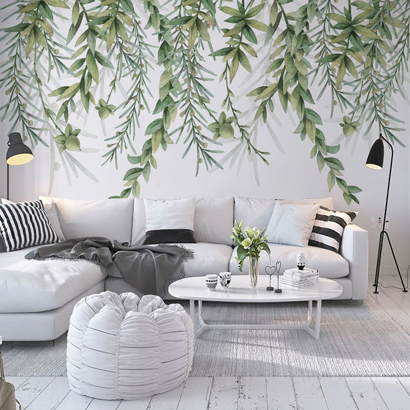 Custom Photo 3D Wall Painting Hand Painted Tree Branch Green Leaves Living Room Bedroom Wall Decoration Mural Papel De Parede 3D