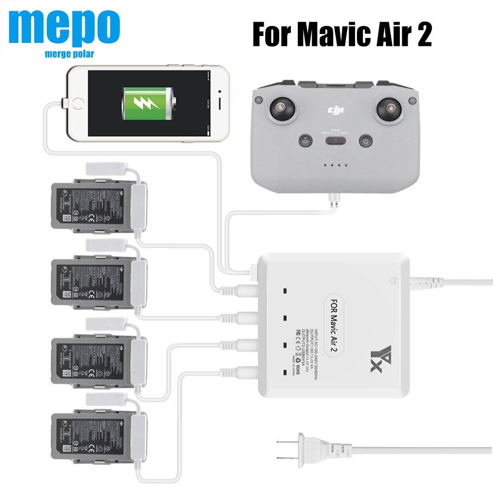 Mavic Air 2 Drone Battery Charging Hub For DJI Mavic Air 2 Remote Control Charger w  USB Charge Port Charging Phone 4 Batteries