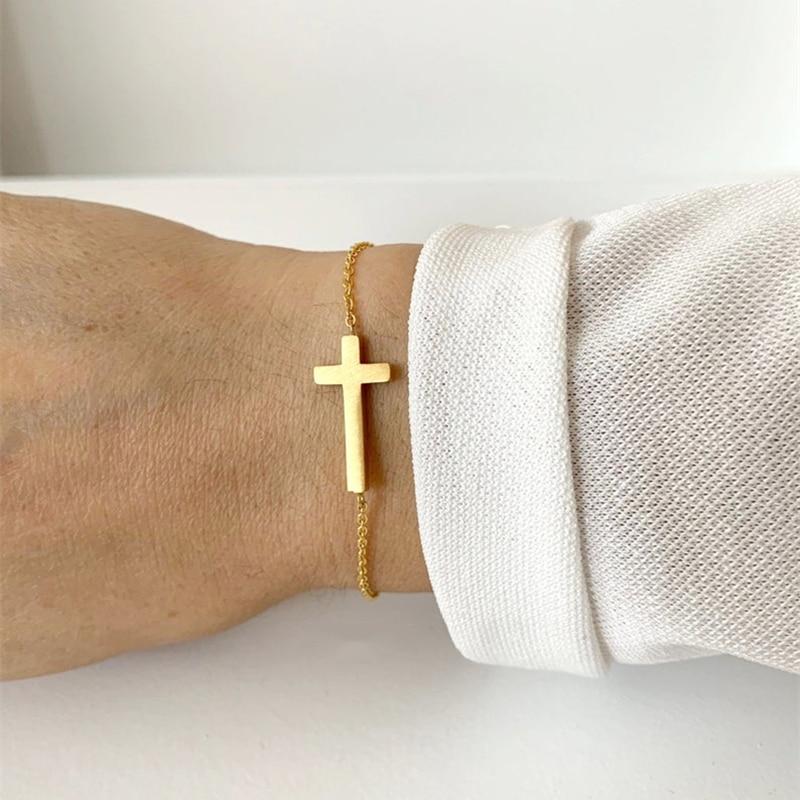 Jesus Cross Charm სამაჯურები ქალის მამაკაცის სამკაულები უჟანგავი ფოლადის ოქროს ჯაჭვი Pulseras Christian Crucifix Bileklik სამაჯური Homme
