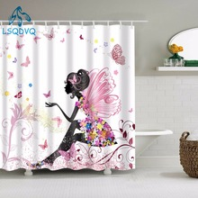 Floral Shower Curtains Portrait Women Waterproof Bath Curtain Bathroom Curtain Shower Curtain Hooks For Bathroom Decoration white embroidered short curtain for kitchen floral sheer tulle curtains for bedroom voile window screening curtain blinds drapes