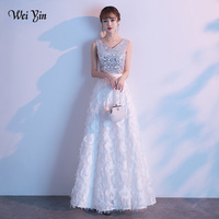 wei yin AE0246 Robe De Soiree 2019 White Evening Dress Long Elegant A Line V Neck Sleeveless Sequined Lace Formal Party Gowns