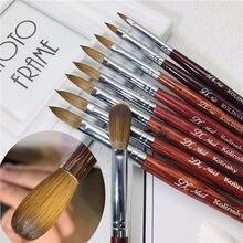 Kolinsky Sable acrylique brosse à ongles plat rond rouge manche en bois UV Gel sculpture liquide poudre stylo
