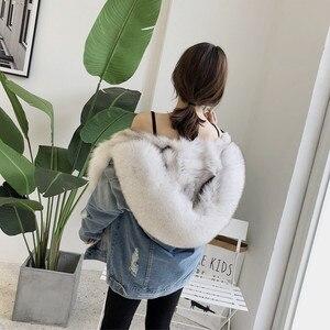 Image 5 - OFTBUY Chaqueta de invierno tipo Parka vaquera para mujer, abrigo de piel auténtica, Cuello de piel de mapache Natural, piel de zorro de abrigo, forro para exteriores, 2020