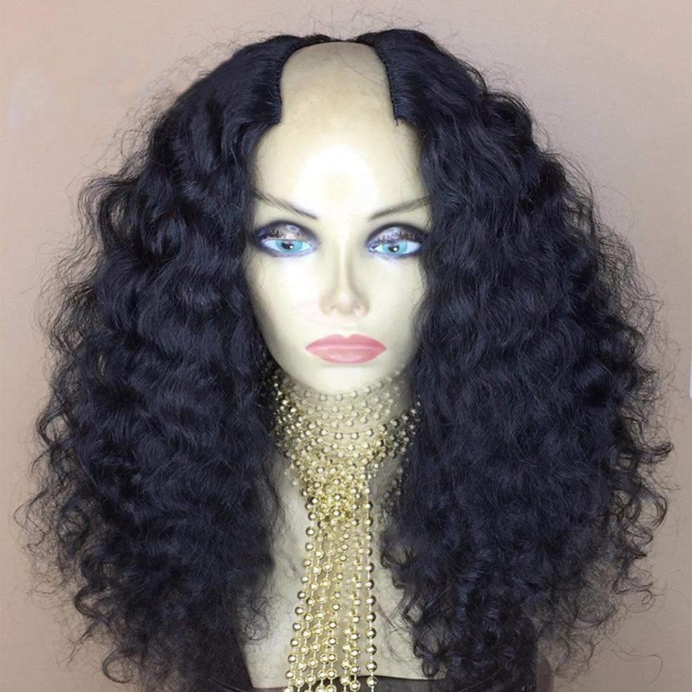 Eversilky Brazilian Curly  2x4 U Part Wigs Middle Part Glueless Remy Hair U Part Human Hair Wigs For Women130- 180%  Density