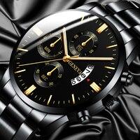 Moda męska zegarek ze stali nierdzewnej luksusowy kalendarz zegarki kwarcowe zegarek biznesowy dla człowieka zegar reloj hombre