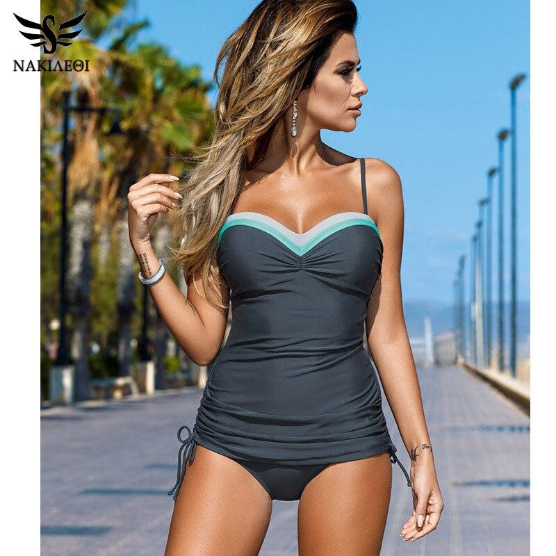 NAKIAEOI 2019 New Swimwear Women Swimsuit Push Up Tankini Set Vintage Retro Bandage Bathing Suits Beach Wear Plus Size Swimwear|wear|wear womenswear beach - AliExpress