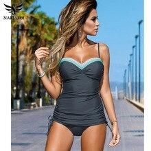 NAKIAEOI 2019 New Swimwear Women Swimsuit Push Up Tankini Set Vintage Retro Bandage Bathing Suits Beach Wear Plus Size Swimwear